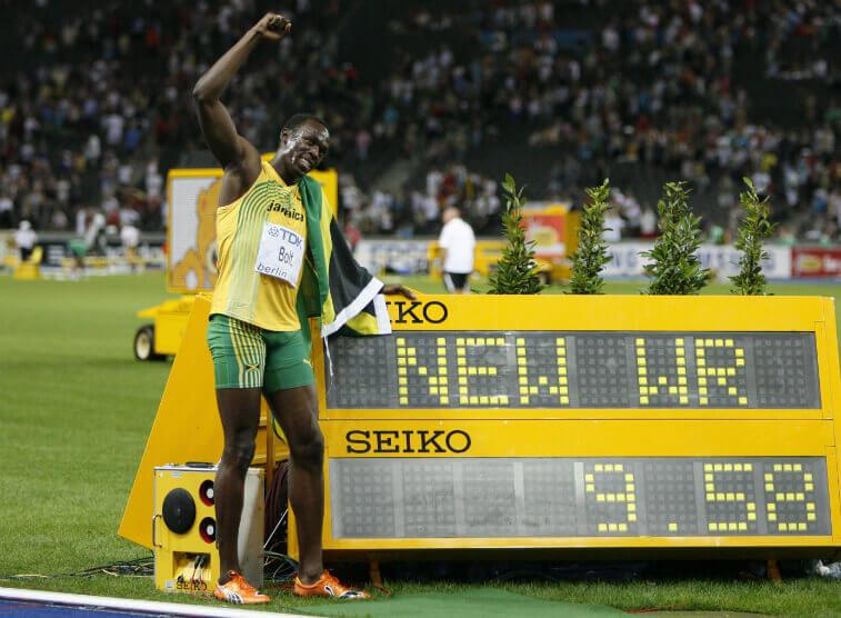 Мировой рекорд по бегу на 100 метров Усейн Болт